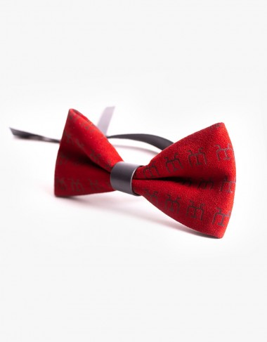 Designer Bow Tie in Red Leather