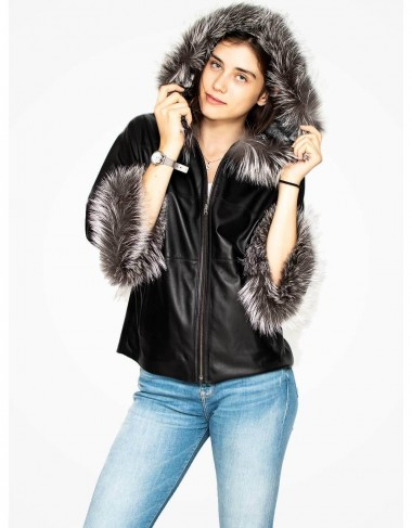 Fur trimmed leather jacket for women