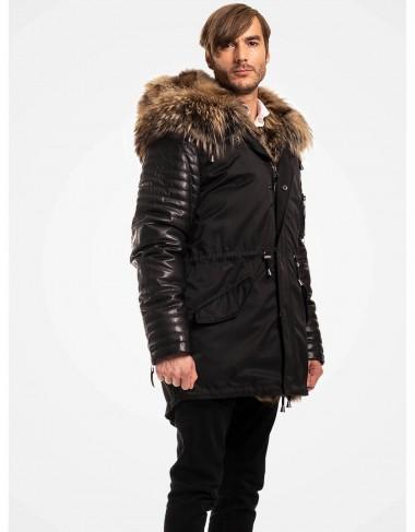 Fur trimmed leather parka for men