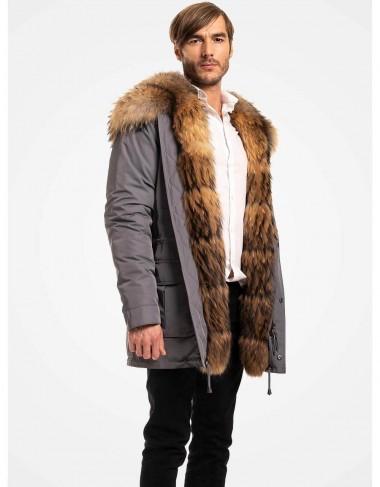 Fur trimmed parka for men